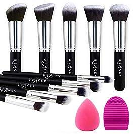 BEAKEY Makeup Brush Set Premium Synthetic Kabuki Foundation Face Powder Blush Eyeshadow Brushes Makeup Brush Kit with Blender Sponge and Brush Egg