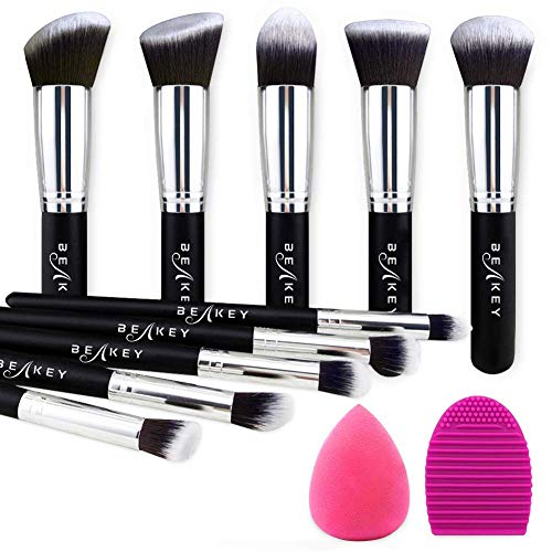 BEAKEY Makeup Brush Set, Premium Synthetic Kabuki Foundation Face Powder Blush Eyeshadow Brushes Makeup Brush Kit with Blender Sponge and Brush Cleaner (10+2pcs, Black/Silver) Iowa