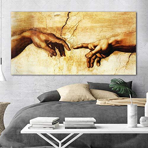 Creación de Adán Mano de Dios Religión Pintura en Lienzo Pintura Famosa Copia de Miguel Ángel Frescos Sixtina Arte de la Pared 80x160cm Sin Marco