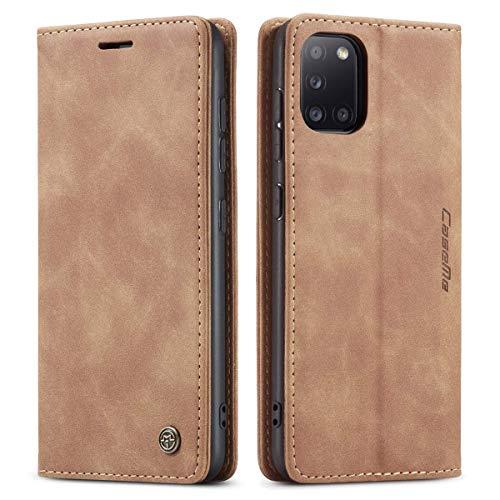 mvced Handyhülle Kompatibel mit Samsung Galaxy A31,Premium Leder Flip Hülle Schutzhülle mit Standfunktion,Braun