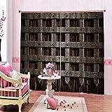 LLPZ Zaun Schlafzimmer Energiesparende Geräuschdämmung Druck Dekoration 2 Panel Rodless Polyester Vorhang2Xl160Xh132Cm