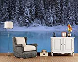 papel pintado pared 3d fotomurales Fleece Tela no tejida papel de pared moderno de decorativos murales pared 300x210cm Canadá Parques Invierno Bosques Nieve Abeto naturaleza