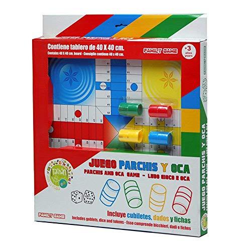 Tachan-Juego Parchís y Oca, de Madera, 40 cm, Color Rojo y Blanco, (CPA Toy Group 74020099)