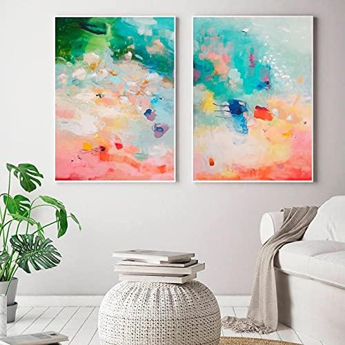 Póster abstracto de coral y azul para pared, diseño nórdico moderno, para sala de estar, decoración del hogar, (50 x 70 cm) X2 sin marco
