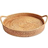 Round Rattan Serving Trays with Handles for Serving and Tabletop Display (L - 13.8inch)