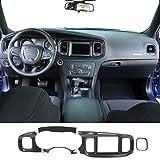 JeCar Center Console Dashboard Panel Trim Interior Decoration Accessories for Dodge Charger 2015-2020, Carbon Fiber Texture