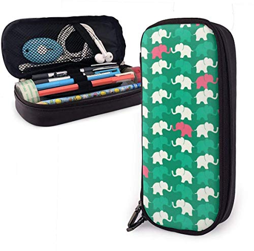 Elephant Seamless Pattern PU Leather Pouch Storage Bags Portable Student Pencil Office Stationery Bag Zipper Wallets Makeup Multi-function Bag