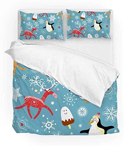Múltiple Vintage Navidad Año Nuevo invierno alces ciervos pingüinos cama cubierta edredón conjunto doble tamaño 3 pieza conjunto 1 colcha cubierta y 2 fundas de almohada shams para niños niño niña muj