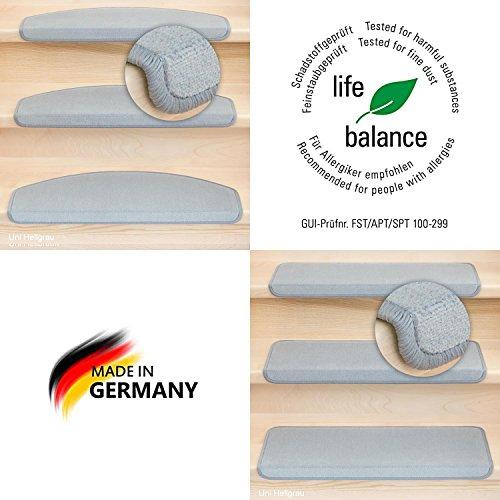 Kettelservice-Metzker® Stufenmatten Vorwerk Uni Einzeln und Sparset's Hellgrau 15 Stück Halbrund