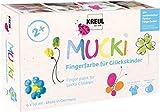 Kreul 23050 - Mucki Fingerfarbe für Glückskinder, 6 x 50 ml in gelb, pink, blau, grün, orange und silber, parabenfrei, glutenfrei, laktosefrei und vegan, auswaschbar, vermalbar mit Pinsel und Fingern