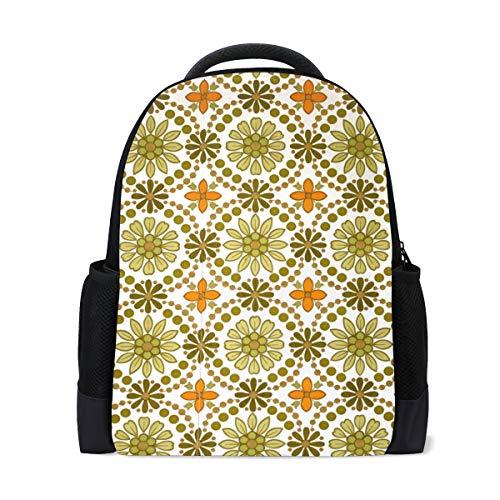 DEZIRO Polyester Groen En Oranje Bloemen Behang Textuur School Tas voor Vrouwen