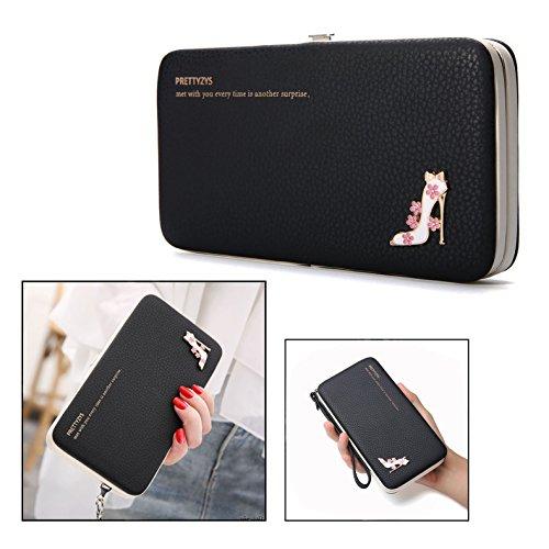 OFKPO lederen portemonnee, elegante clutch lange portemonnee/mobiele telefoon zak met kaartsleuven (zwart)