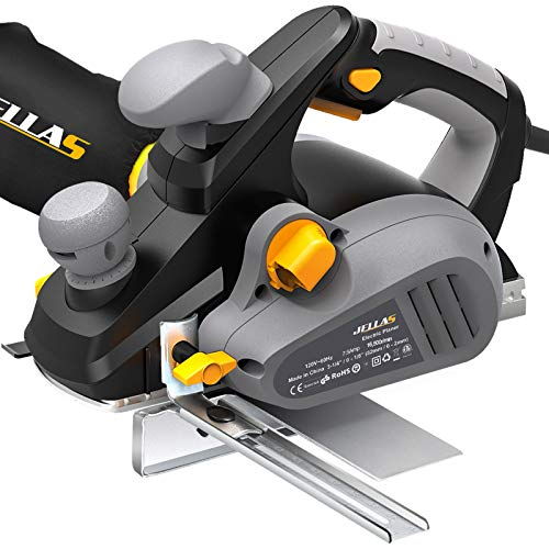 JELLAS 7.5Amp Power Hand Planer, 16,500Rpm Electric Planer, 3-1/4 Inch Cut Width with Dual-dust out System, EP01