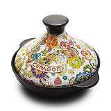 Tajín marroquí esmaltado, decorado, forma cónica, diámetro 22 cm, adecuado para 2-4 personas,...