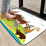 Cartoon Outdoor Welcome Mat Non Slip Absorbent Resist Dirt Rug Various Safe Animals The Two of Every Kind Boarding The Ark Clip Art Design Print Multicolor 31.8 x 39.7 Inches