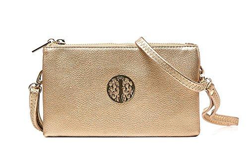 Long & Son 3141 - Piccola pochette da donna, con cinturino da polso e tracolla, Oro (Oro), Taglia unica