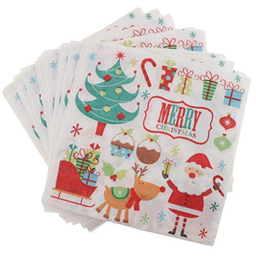 100pcs Christmas Paper Napkin Disposable Party Napkins Party Tableware Tissue for Xmas Table Decor Birthday Wedding Party Favors - Style A
