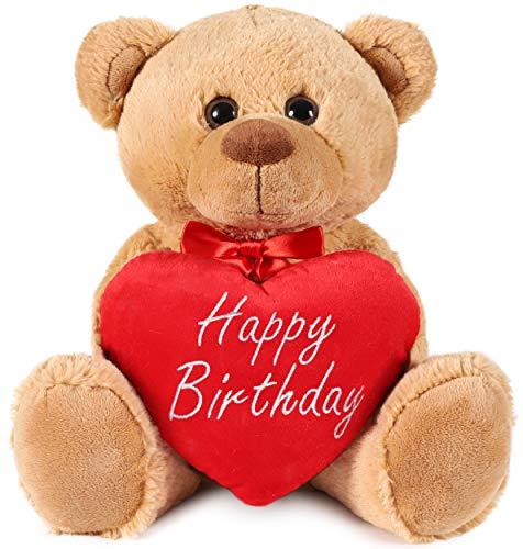Brubaker Teddy Plüschbär mit Herz Rot - Happy Birthday - 35 cm - Teddybär Plüschteddy Kuscheltier Schmusetier - Braun Hellbraun
