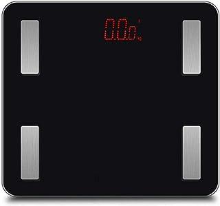 KLT Báscula de pesaje Bluetooth App Body Fat Balance Báscula Inteligente Electrónica LED Digital Peso Baño Balanza Balanza Balanza para Android iOS Max 180kg Negro Cocina