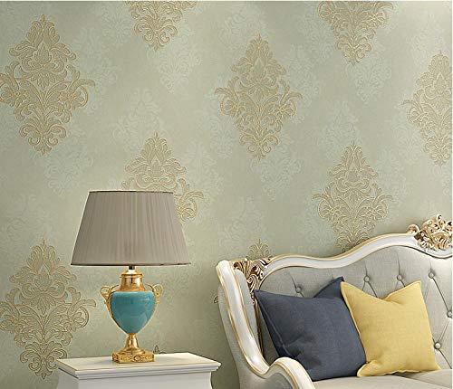 Papel pintado 3D Damasco no tejido Papel pintado Verde claro para decoración de pared de dormitorio y hogar, papel pintado minimalista de lujo 0.53mx9.5m