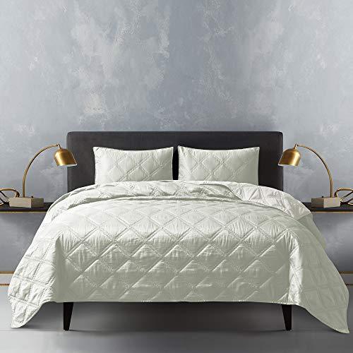 Shalala Satin Steppdecken-Set, 3-teiliges Daunen-Bettwäsche-Set & ultraweiche, leichte Tagesdecke, geometrisches Rauten-Design für alle Jahreszeiten (cremeweiß, King-Size)