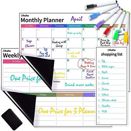 Calendario familiar 2021, Ohuhu paquete de 3 calendarios magnéticos para refrigerador - Planificador mensual, semanal y diario borrable, con 6 marcadores y borrador