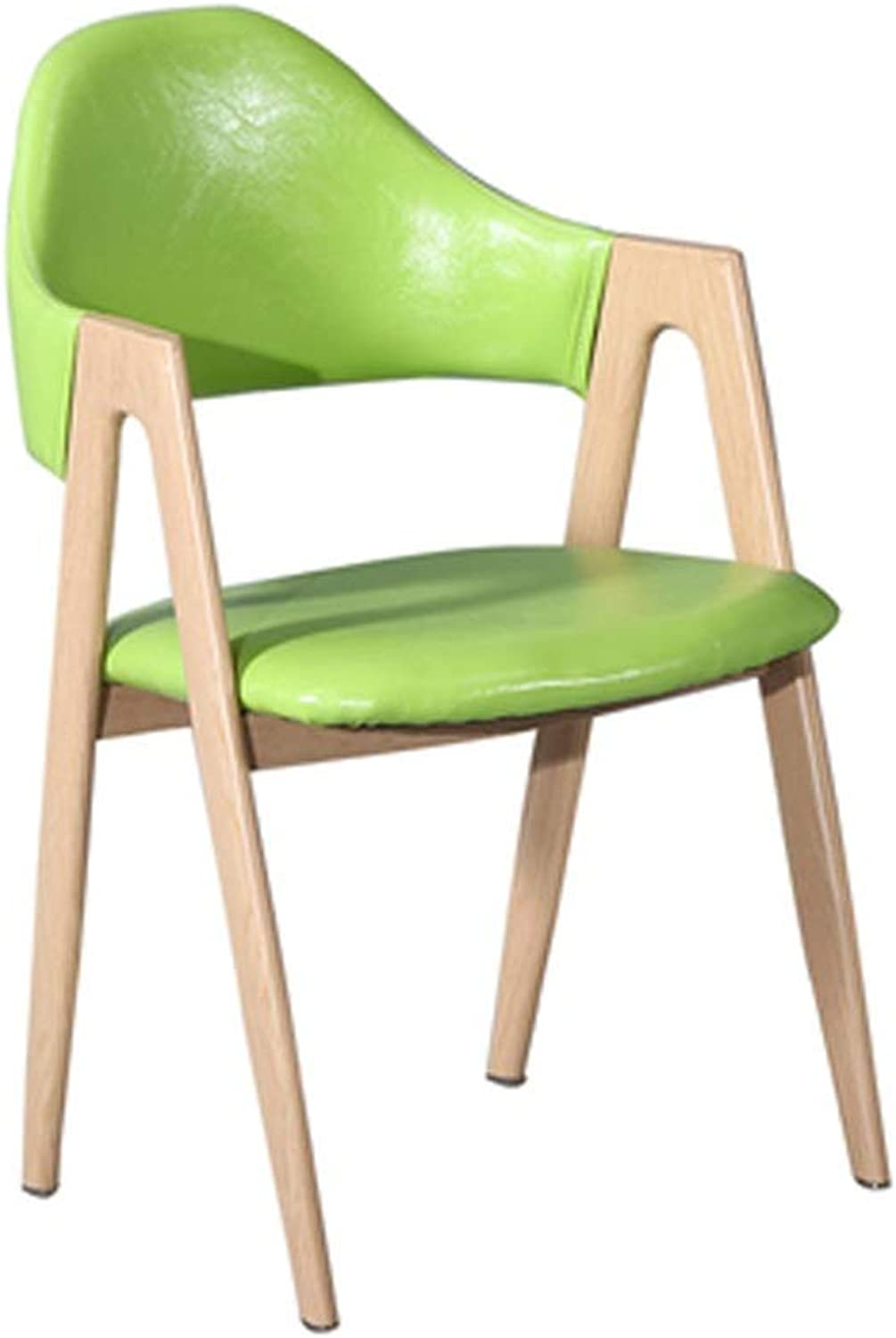 Barstool Nordic bar Stool Wrought Iron Leather pad with backrest Casual Black Green 52  46  81cm (color   Green)