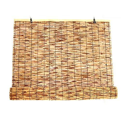 KDDEON Estores de Bambú de Carbonización Retro Decorativa de Pared,Persianas Enrollables Romanas de Caña de Privacidad con Filtrado de Luz,para Terraza/Pabellón/Casa de Té (120x350cm/47x138in)