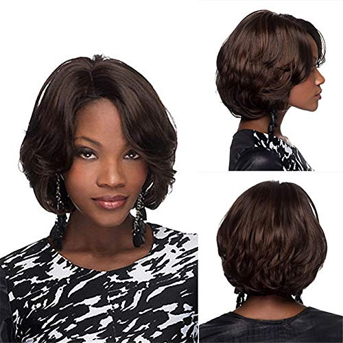 Synthetic Short Wavy Afro Curly Wig for Black Women -Natural Looking and Heat Resistant Full Head Hair Replacement Wig for Daily Wear or Costume Wig