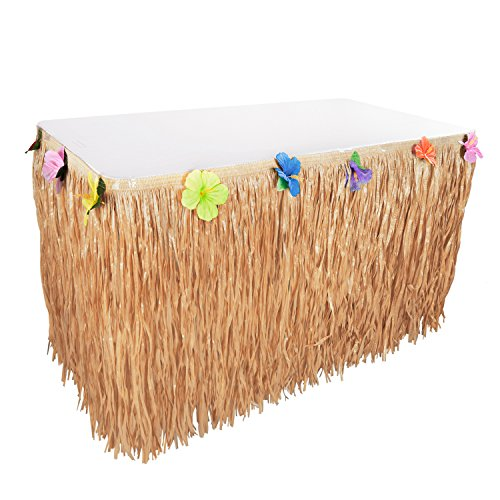 Hawaiian Luau Hibiscus String & Colorful Sproilk Faux Flowers Table Hula Grass Skirt for Party Decoration, Events, Birthdays, Celebration (1 Pack) (Brown)