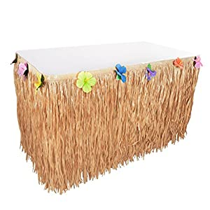 Hawaiian Luau Hibiscus String & Colorful Sproilk Faux Flowers Table Hula Grass Skirt for Party Decoration, Events, Birthdays, Celebration (1 Pack)