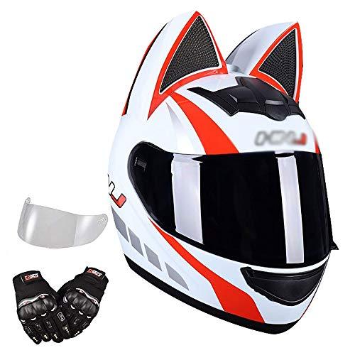 BDTOT Casco de Moto Personalizado con Oreja De Gato,Casco Estándar ECE/Dot,Casco Unisex Negro de Motocicleta para Adultos con Doble Visera Anti-rasguños y Protección Rayos UV