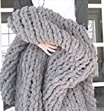 Chenille Chunky Knit Throw Blanket -Large Cable Knitted Soft Cozy Polyester Chenille Bulky Blankets for Couch Home Decor, on The Couch or Sofa Slate Gray(40'x40')