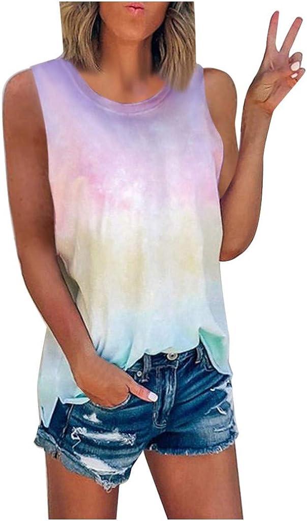 AODONG Womens Tank Tops, Womens Casual Summer Vest Tank Top Fashion Tie-Dye Printed Tshirt Sleeveless Blouse Tunic Tee