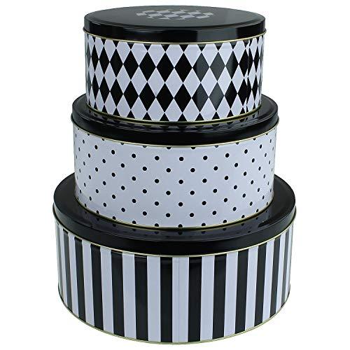 MACOSA WV44532 3er Set Gebäckdosen Schwarz Weiß | Metall | Keksdosen Weihnachten Aufbewahrungsdose Plätzchen-Dose Vorratsdose Geschenk Verpackung