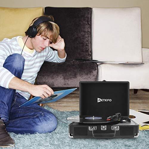Plattenspieler , AETKFO Bluetooth Plattenspieler 3-Gang Vinyl Plattenspieler mit Lautsprecher, Unterstützung Aufnahme Vinyl, Cinch & USB Ausgang / AUX-In / Kopfhöreranschluss, Koffer Design (schwarz) - 6