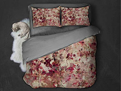 Toopeek Antique Decor hotel luxury bed linen Grungy Effect Cherry Blossoms on Ribbed Bamboo Retro Background Floral Art Work polyester - soft and breathable (Twin) Pink Beige