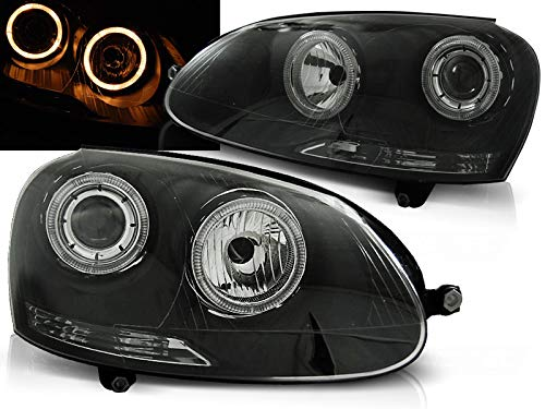 Faros compatibles con Volkswagen Golf 5 2003 2004 2005 2006 2007 2008 2009 GV-1711 Luces delanteras de coche, faros delanteros Angel Eyes negro