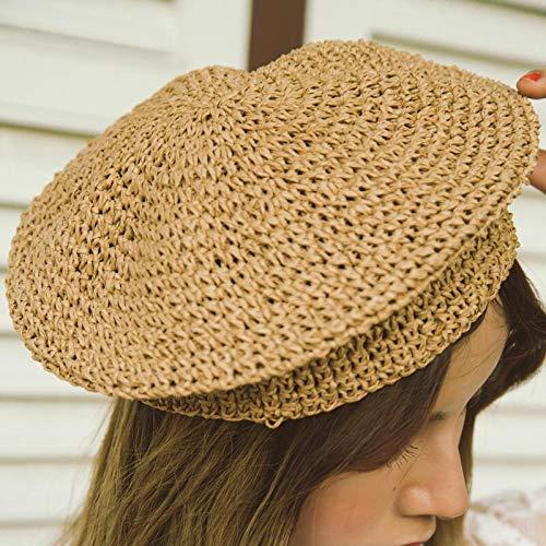 xuyang Sombrero de paja para mujer, color beige, estilo francés, moderno, vintage, para mujer, color café, talla de gorro: 55-58 cm