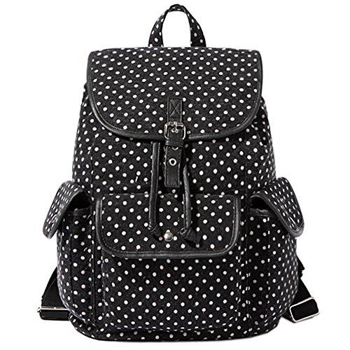 Owbb® Schwarz Leinwand Weiß Runden Drucken Damen Mädchen Leinwand Rucksack Reisetasche/Kinder Twin Tasche Rucksäcke (bsjw-59) +2 gratis Geschenke