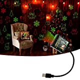 LECART Led Christmas Projector Light Dual Color Auto Roof Star Night Light USB Star Projector Light Atmosphere Decoration Lamps Common Use for Car Home Bedroom Party Festival Christmas (Red & Green)