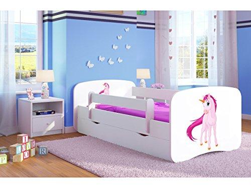 Kinderbett Jugendbett 70x140 80x160 80x180 cm Weiß mit Rausfallschutz Schublade und Lattenrost Kinderbetten für Mädchen und Junge - Einhorn 180 cm