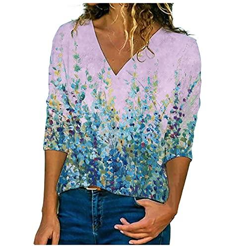 Camiseta para Mujer Estampadas de Flores Camisa Mujer Manga Larga Elegantes Blusones Mujer de Cuello V Suelta Casual Tops Suave y Transpirables Túnica para Primavera,Otoños,Invierno