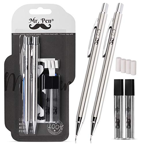 Mr. Pen- Mechanical Pencils 0.9, Pack of 2, Metal Mechanical Pencil with Lead and Eraser, Drafting Pencil, Drawing Pencil, Mechanical Pencil, 0.9 Mechanical Pencils, Artist Mechanical Pencils, 0.9mm