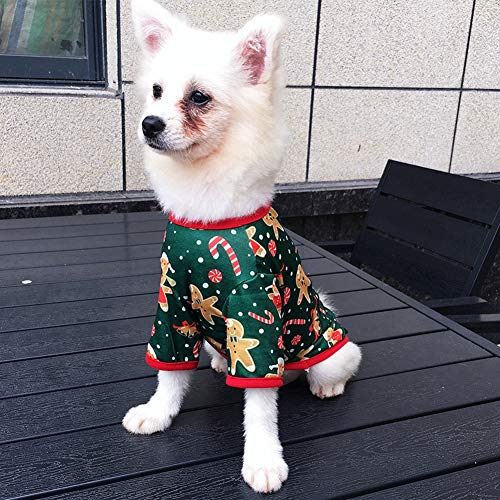 Southwind Christmas Dog T-Shirt Xmas Pet Costume Small Pet Dogs Pajamas Soft Vet Suit Shirts for Small Medium Dogs Cats w/Reindeer Snowman Gingerbread