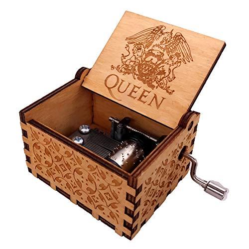 Caixa de música Youtang antiga esculpida à mão com manivela Queen Play Bohemian Rhapsody