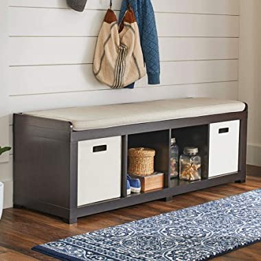 Better Homes and Gardens 4-Cube Storage Organizer Bench (Espresso)
