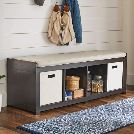 Better Homes and Gardens 4-Cube Storage Organizer Bench and 3-Set of Picture Frame (4-Cube, Espresso)
