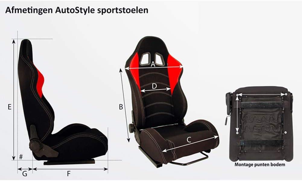 Schlitten Autostyle SS 62WZ Sportsitze K12 Wide Breit Schwarz inkl Feste R/ückenlehne