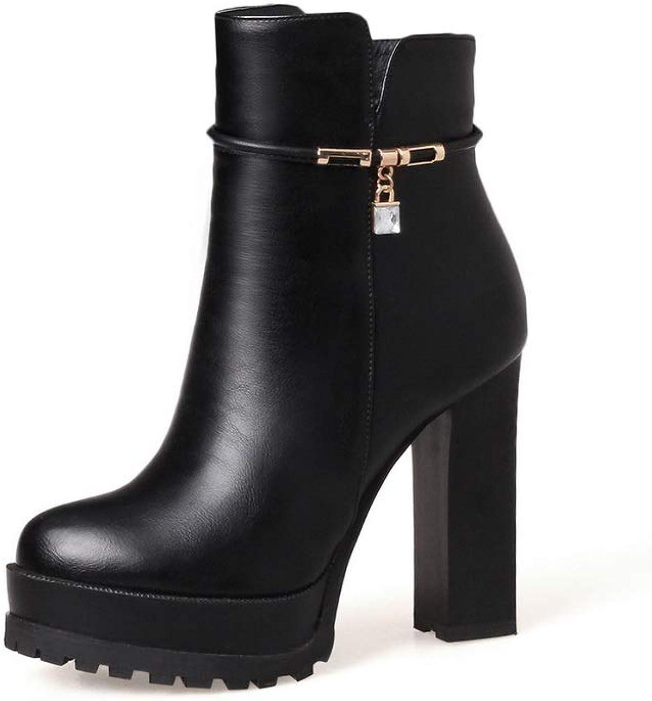 AN Womens Square Heels Platform Urethane Boots DKU02522